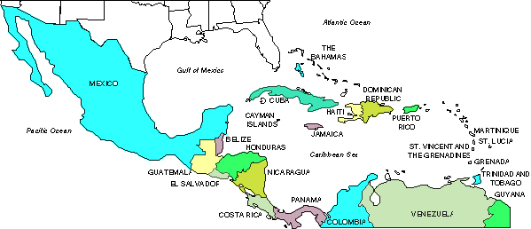 mexico and caribbean map